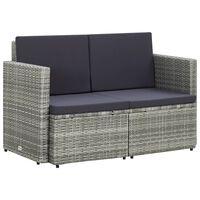 vidaXL szürke kétszemélyes polyrattan kerti kanapé párnákkal