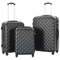 vidaXL 3 db fekete keményfalú ABS gurulós bőrönd