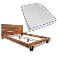 vidaXL tömör akácfa ágy memóriahabos matraccal 140 x 200 cm