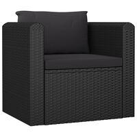 vidaXL fekete polyrattan egyszemélyes kanapé párnákkal