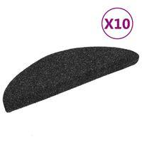 vidaXL 10 db fekete tűlyukasztott öntapadó lépcsőszőnyeg 54x16x4 cm