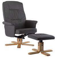 vidaXL szürke műbőr fotel lábtartóval