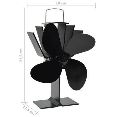 vidaXL fekete hővel meghajtott négylapátos kandalló ventilátor