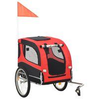vidaXL piros és fekete kutyaszállító kerékpár-utánfutó , Piros és fekete