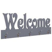 "vidaXL szürke ""WELCOME"" feliratú fali fogas 74 x 29,5 cm"