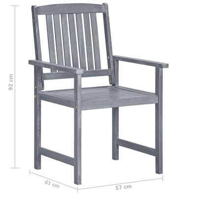 vidaXL 8 db szürke tömör akácfa kerti szék párnákkal