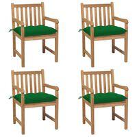 vidaXL 4 db tömör tíkfa kerti szék zöld párnával
