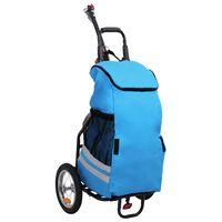 vidaXL összecsukható kerékpár-utánfutó kék és fekete táskával