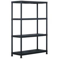 vidaXL fekete műanyag tároló polc 220 kg 90 x 40 x 138 cm