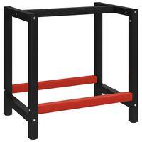 vidaXL fekete és piros fém munkapadváz 80 x 57 x 79 cm