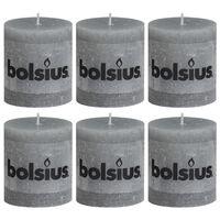 Bolsius 6 db világosszürke rusztikus oszlopgyertya 80 x 68 mm