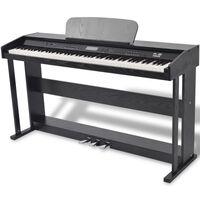 vidaXL 88 billentyűs digitális zongora pedálokkal fekete melamin lap