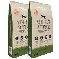 "vidaXL 2 db ""Adult Active Chicken & Fish"" prémium száraz kutyatáp 30kg"