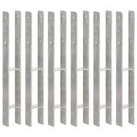 vidaXL 6 db ezüstszínű horganyzott acél kerítéshorgony 7 x 6 x 60 cm