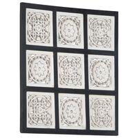 vidaXL fekete és fehér kézzel faragott fali panel MDF 60 x 60 x 1,5 cm