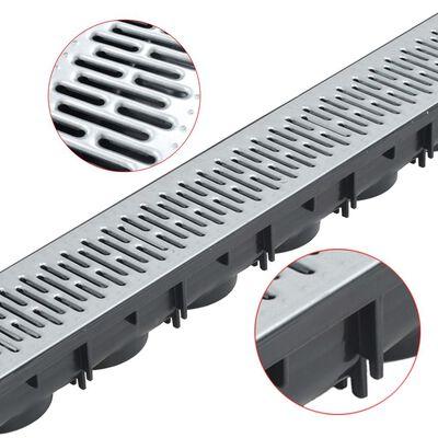 vidaXL 3 db horganyzott acél vízelvezető folyóka 3 m