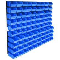 vidaXL 96 darabos kék tárolódoboz-készlet fali panelekkel