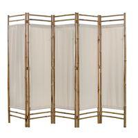 vidaXL 5 paneles bambusz/vászon paraván 200 cm