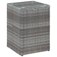 vidaXL szürke polyrattan kisasztal üveg asztallappal 35 x 35 x 52 cm