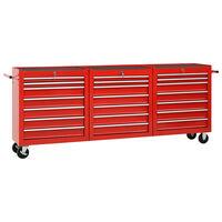 vidaXL 21 fiókos piros acél szerszámos kocsi