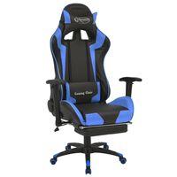 vidaXL kék dönthető versenyautó ülés alakú irodai szék lábtartóval