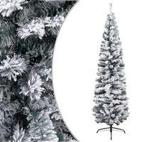 vidaXL zöld vékony PVC műkarácsonyfa pelyhes hóval 210 cm