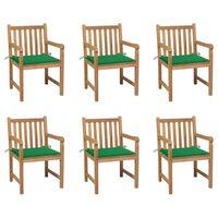 vidaXL 6 db tömör tíkfa kerti szék zöld párnákkal