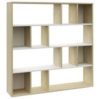 vidaXL fehér-tölgyszínű forgácslap térelválasztó/szekrény 110x24x110