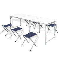 Összecsukható alumínium kempingasztal szett 6 székkel 180 x 60 cm