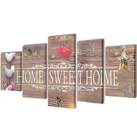 """Nyomtatott vászon falikép szett """"Home Sweet Home"""" dizájn 100 x 50 cm"""