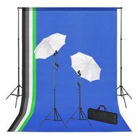 vidaXL fotóstúdió-felszerelés hátterekkel, lámpákkal és ernyőkkel