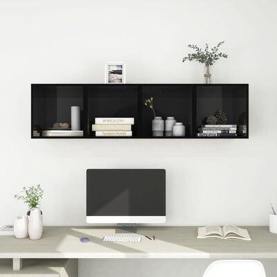 vidaXL 4 db magasfényű fekete forgácslap faliszekrény 37 x 37 x 37 cm