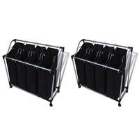 vidaXL 2 db fekete és szürke szennyesszortírozó zsákokkal