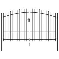 vidaXL fekete acél lándzsahegy tetejű kétajtós kerítéskapu 3 x 2 m