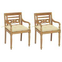 vidaXL 2 db tömör tíkfa Batavia szék krémfehér párnával