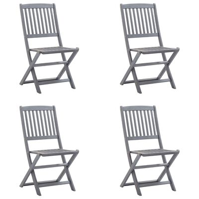vidaXL 4 db összecsukható tömör akácfa kültéri szék párnával