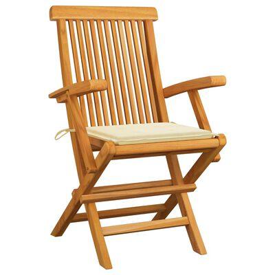 vidaXL 3 db tömör tíkfa kerti szék krémszínű párnával