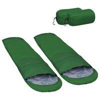 vidaXL 2 db zöld könnyű hálózsák 15℃ 850 g