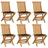 vidaXL 6 db tömör tíkfa kerti szék fekete párnával