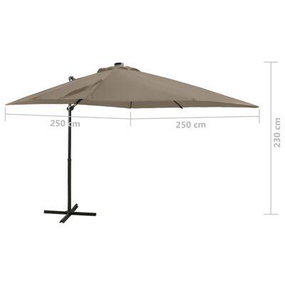 vidaXL tópszínű konzolos napernyő rúddal és LED-fényekkel 250 cm