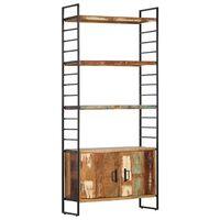 vidaXL 4 szintes tömör újrahasznosított fa könyvespolc 80x30x180 cm