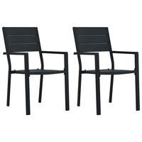vidaXL 2 darab fekete fautánzatú HDPE kerti szék