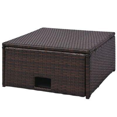 vidaXL 4-részes barna polyrattan kerti bútorszett párnákkal
