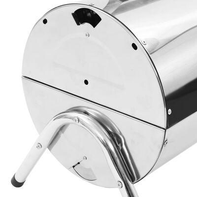 vidaXL rozsdamentes acél hordozható asztali faszenes grillsütő