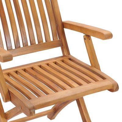 vidaXL 8 db összecsukható tömör tíkfa kerti szék párnával