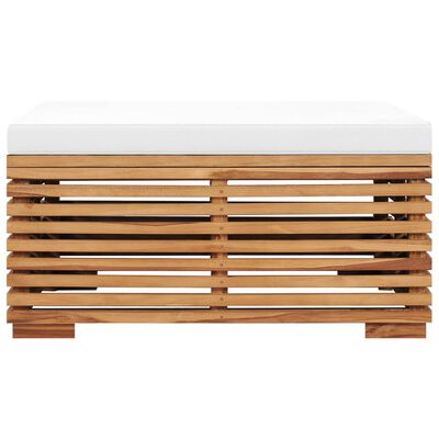vidaXL tömör tíkfa kerti asztal és lábtartó krémszínű párnával