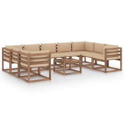 vidaXL 10 részes kerti ülőgarnitúra bézs párnákkal