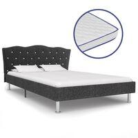 vidaXL sötétszürke szövetágy memóriahabos matraccal 120 x 200 cm