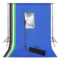 vidaXL fotóstúdió-felszerelés hátterekkel és softbox lámpával