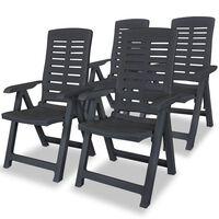 vidaXL 4 db antracitszürke dönthető műanyag kerti szék